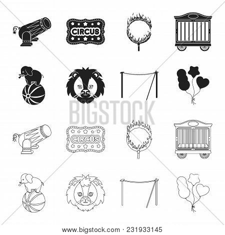 Elephant On The Ball, Circus Lion, Crossbeam, Balls.circus Set Collection Icons In Black, Outline St