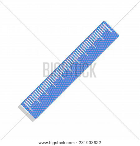 Centimeter Ruler Sign. Vector. Neon Blue Icon With Cyclamen Polka Dots Pattern With Light Gray Shado
