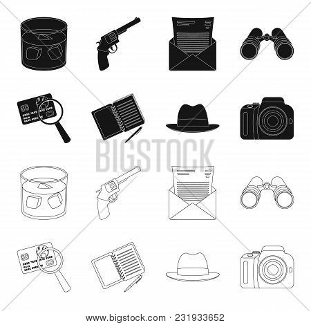 Camera, Magnifier, Hat, Notebook With Pen.detective Set Collection Icons In Black, Outline Style Vec