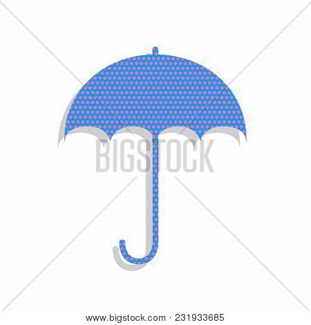 Umbrella Sign Icon. Rain Protection Symbol. Flat Design Style. Vector. Neon Blue Icon With Cyclamen