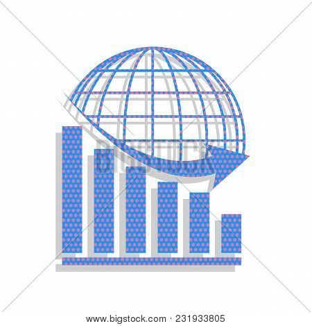 Declining Graph With Earth. Vector. Neon Blue Icon With Cyclamen Polka Dots Pattern With Light Gray