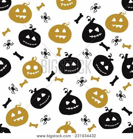 Seamless Pattern With Halloween Design. Vector Illustration.