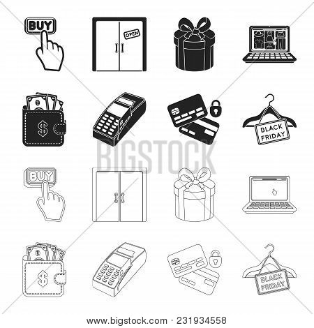 Purse, Money, Touch, Hanger And Other Equipment. E Commerce Set Collection Icons In Black, Outline S