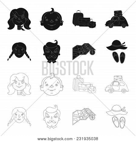 Travel, Vacation, Camping, Map .family Holiday Set Collection Icons In Black, Outline Style Vector S