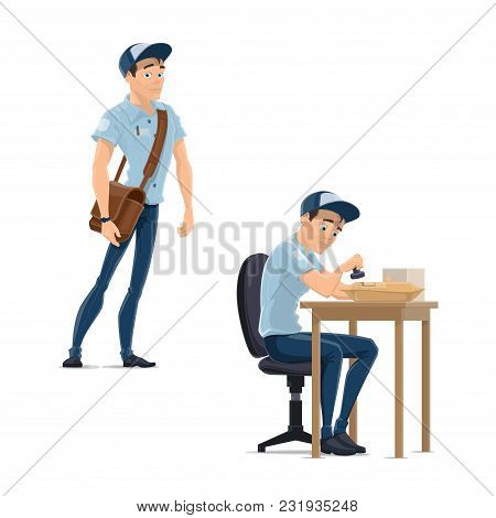 Postman At Work In Post Office Vector Flat Icons Of Mailman Working. Isolated Postman Character In U