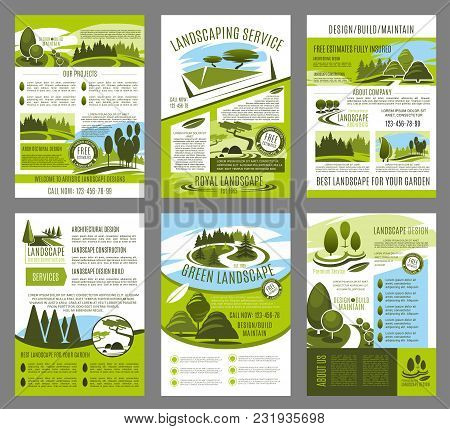 Landscape Design And Green Garden Build Brochure Template For Landscaping Company Or Horticulture Se