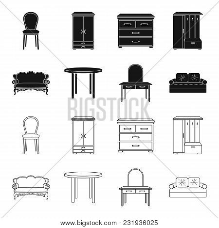Sofa, Armchair, Table, Mirror .furniture And Home Interiorset Collection Icons In Black, Outline Sty