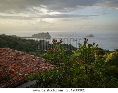 Beautiful Early Morning Light Over The Pacific Ocean In Manuel Antonio, Costa Rica, With A Ceramic T