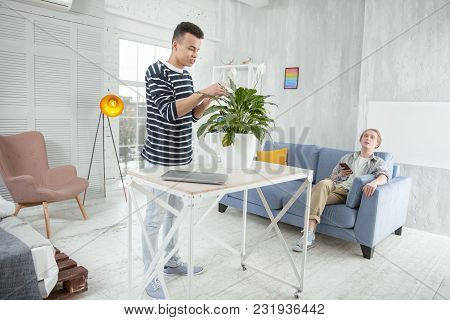 Nature At Home. Handsome Reflective Adorable Man Standing While Wiping Leaves Of Plant And Relaxing