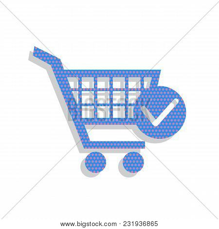 Shopping Cart With Check Mark Sign. Vector. Neon Blue Icon With Cyclamen Polka Dots Pattern With Lig