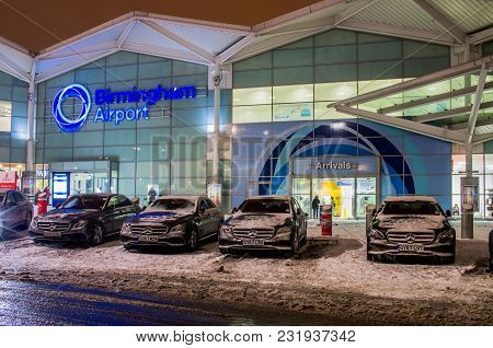 Birmingham, United Kingdom - March 02 2018 : View Of Birmingham Airport Building From Outside In Bir