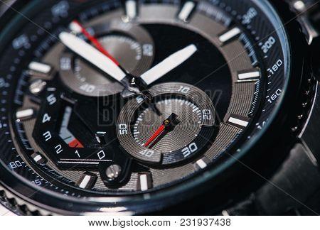 Classy Wristwatch. Style, Fashion And Abundance Concept. Macro Image