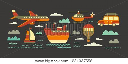 Time To Travel Icons. Flat Tourism Trip Symbol Collection. Ocean Liner, Yacht Sea Sailing. Airplane