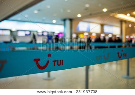 Birmingham, United Kingdom - March 02 2018 : Tui Check In Counter At The Airport In Birmingham, Unit