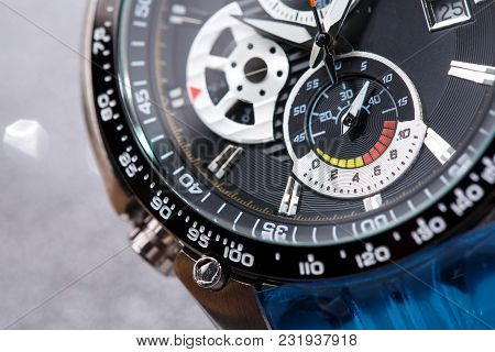 Style, Fashion And Abundance Concept. Mechanical Watch Up Close