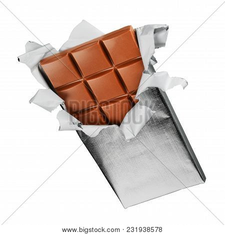Unwrapped Foil Chocolate Bar Isolated On White Background With Clipping Path