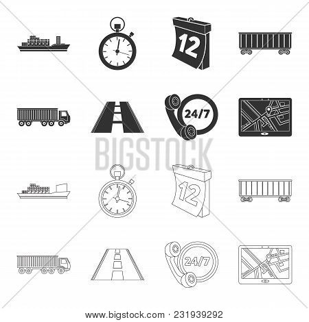 Round The Clock, Road, Truck, Jps.loqistic, Set Collection Icons In Black, Outline Style Vector Symb