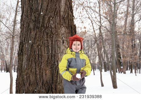 Cute boy playing in snowy park on winter vacation