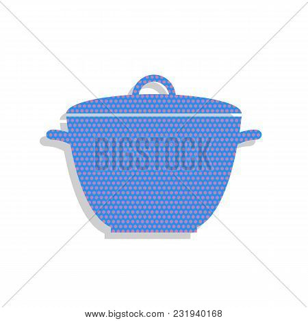 Saucepan Simple Sign. Vector. Neon Blue Icon With Cyclamen Polka Dots Pattern With Light Gray Shadow