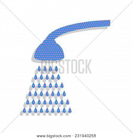 Shower Simple Sign. Vector. Neon Blue Icon With Cyclamen Polka Dots Pattern With Light Gray Shadow O