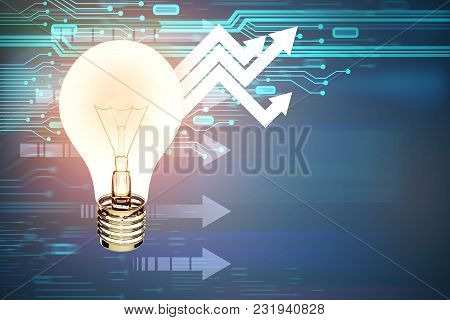 Glowing Light Bulb On Abstract Background With Circuit And Upward Arrows. Technology, Idea And Solut