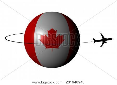 Canada flag sphere with plane silhouette and swoosh 3d illustration