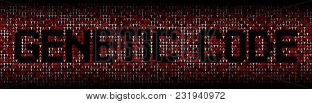 Genetic Code text on DNA genetic code background illustration