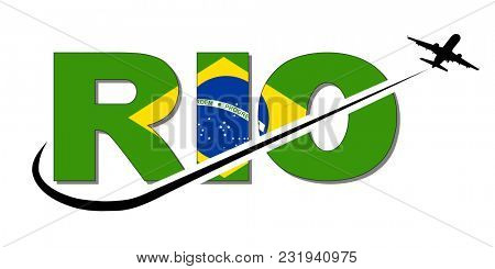 Rio flag text with plane silhouette and swoosh illustration