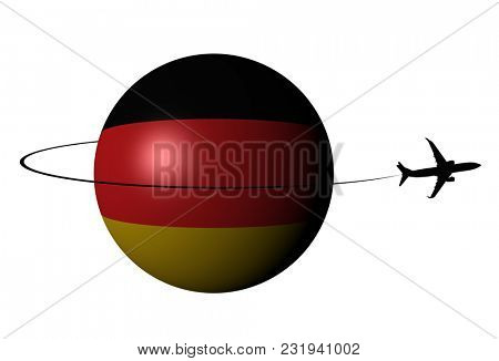 Germany flag sphere with plane silhouette and swoosh 3d illustration