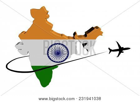 India map flag with plane silhouette and swoosh 3d illustration