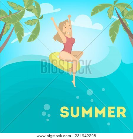 Woman Enjoying The Summer And Floating In Ring.