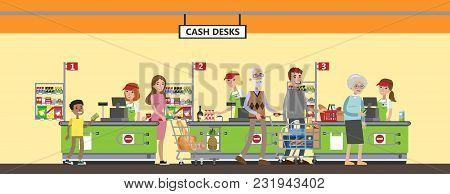 Supermarket Interior Set. Happy People At Cash Desk.
