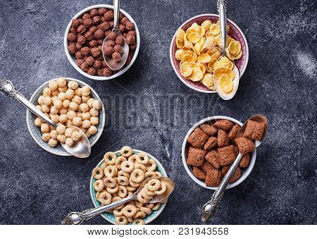 Selection Of Various Corn Flakes For Breakfast. Top View