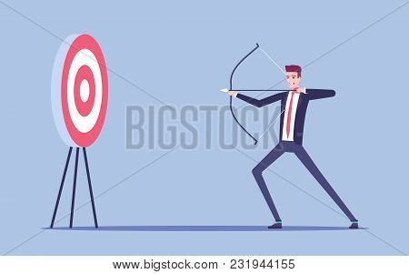 Young Businessman Aiming At The Target With Bow And Arrow Vector Flat Illustration. Young Man In The