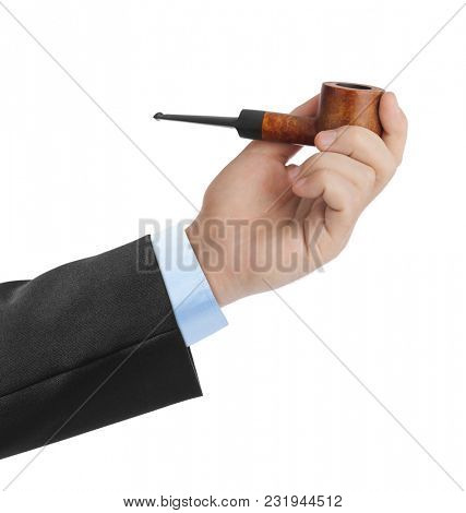 Hand with smoking pipe isolated on white background