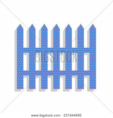 Fence simple sign. Vector. Neon blue icon with cyclamen polka dots pattern with light gray shadow on white background. Isolated. poster