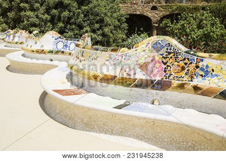 Park Guell Created By Antonio Gaudi In Barcelona
