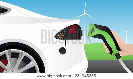 Hand With Charging Plug. Charging An Electric Car. Vector Illustration