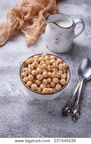 Sweet Corn Flakes Ball For Breakfast. Selective Focus