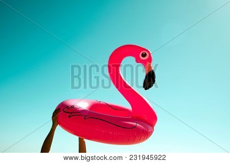closeup of a young caucasian man on the beach with a swim ring in the shape of a pink flamingo in his hands against the blue sky, with some blank space on top