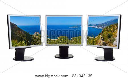 Sveti Stefan and Budva - Montenegro (my photo) on computer monitors - isolated on white background