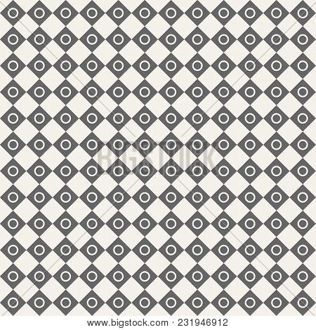 Seamless Geometric Pattern Of Rhombuses With Circles Inside. Vector Background. Repeating Checkered