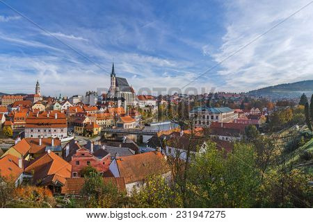 Cesky Krumlov cityscape in Czech Republic - travel and architecture background