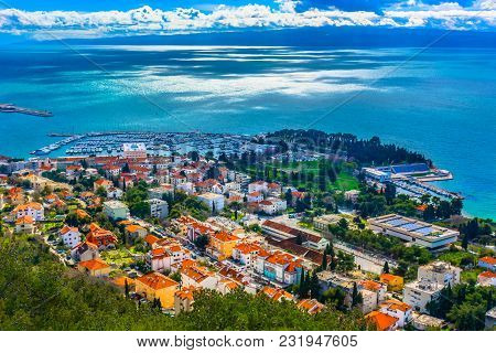 Aerial View At Split Harbor In Croatia, Popular Summer Tourist Resort On Mediterranean.