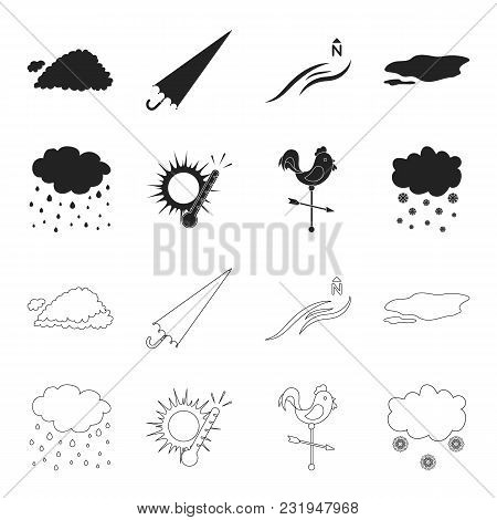 Rain, Snow, Heat, Weathervane. The Weather Set Collection Icons In Black, Outline Style Vector Symbo