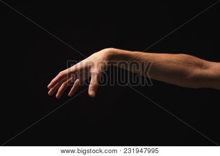 Taking. Male Hand Grab Some Item On Black Isolated Background, Cutout, Copy Space