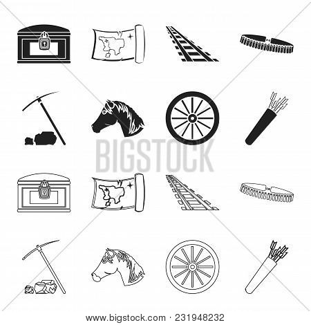 Pickax Hoe, Horse Head, Wheel Cart, Quiver With Arrows.wild West Set Collection Icons In Black, Outl