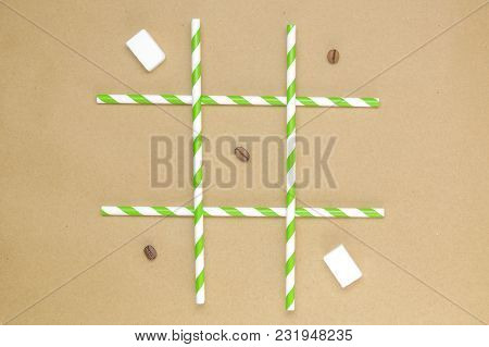 Tic Tac Toe Made Of Coffee Beans And Sugar Cubes Minimal Concept Background