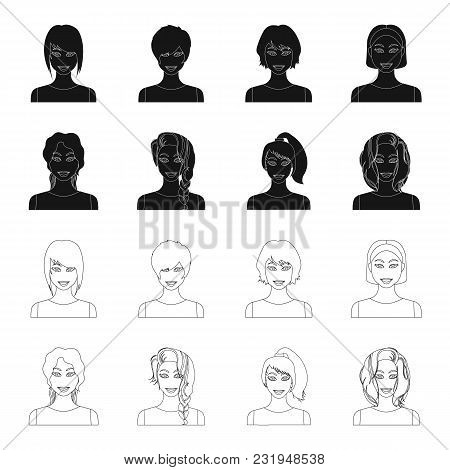 Types Of Female Hairstyles Black, Outline Icons In Set Collection For Design. Appearance Of A Woman