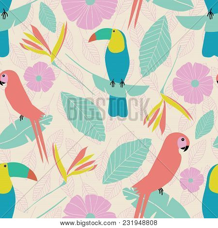 Seamless Vector Tropical Garden Pattern With Parrots, Toucans, Leaves, Flowers In Pink, Blue, Yellow